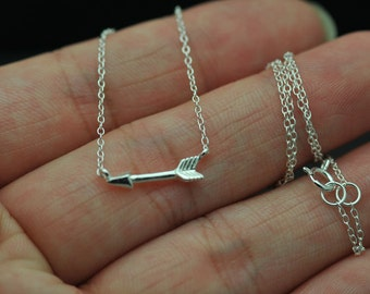 Dainty All Sterling Silver arrow Necklace -  Arrow necklace