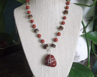 Handmade necklace - red jasper and shell