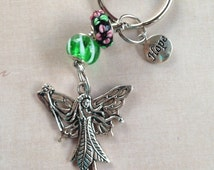 Fairy Guardian of Hope Keychain - Sterling Silver Core Murano and Lampwork Beads, Silver Plated Charms, Stainless Steel Keychain