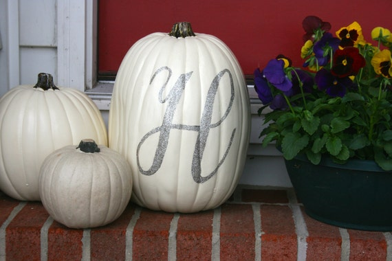 Glitter Calligraphy Monogramed Pumpkin - Customizable Letter, Size and Color!
