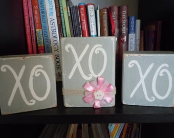 Wooden XO Blocks, Valentines Decoration, Home decor