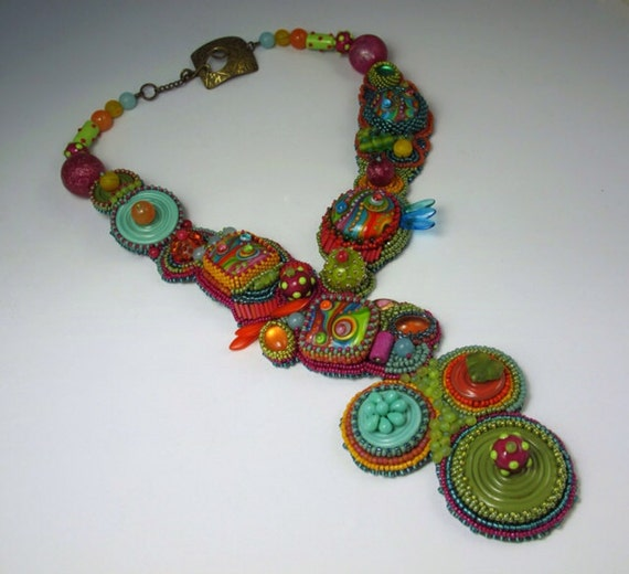 Items similar to bead embroidery necklace sold on etsy