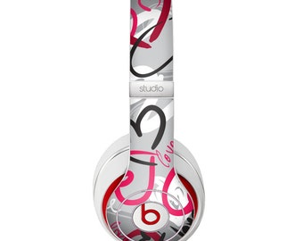 The Vector Love Hearts Collage Skin for the Beats by Dre Headphones (All Versions Available)