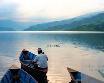 Greeting card: Sailing away in Nepal. Lake greeting card. photography greeting card.