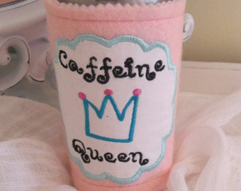 Clearance sale on Pink 'Caffiene Queen' adjustable coffee sleeve with applique and embroidery