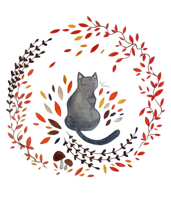 "Black Cat and Wreath, Original Watercolour Painting, 6 x 9"" Illustration, Cat Painting, Wreath Art, Autumn Watercolour"