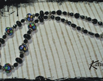 108 Black Necklace with featured lampwork beads