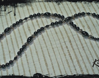114 Hematite and Silvertone Necklace
