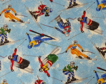 Cotton Fabric, Quilt, Home Decor,Sports Skiing from Timeless Treasures #GM-C1997, Fast Shipping, S112