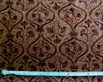Vintage 50s Rusty Brown Foulard Silk Habutai Fabric