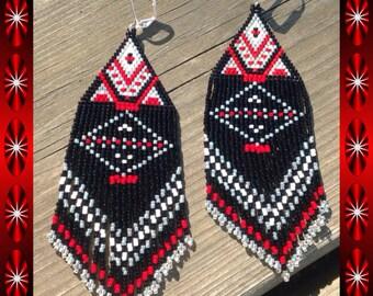 "Long beaded earrings 5 1/2 inch ""North Style"""
