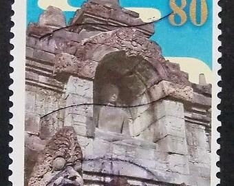 Buddha Borobudur Temple, Indonesia -Handmade Framed Postage Stamp Art 9496