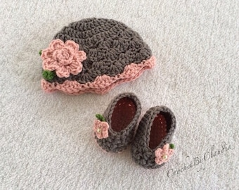 Newborn To Three Month Beanie and Slippers/Made to Order