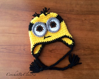 Crochet Two Eyed Minion Inspired Beanie/Minion Beanie/Made to Order/Any size