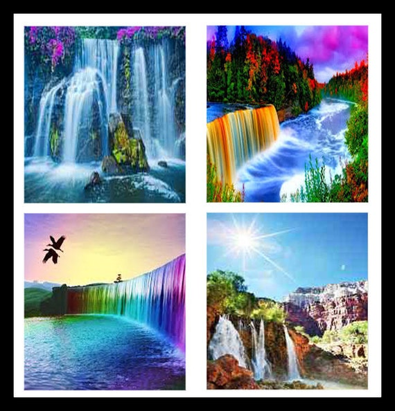 Waterfall nature prints waterfalls digital download for Waterfall design etsy