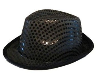 New Years Eve Party Hats . Sparkle Hat . Black or Red . Diva Disco Dance Sequin Fedora
