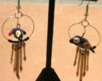 Dangling Parrot Pierced Earrings