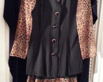 2 Piece Black Dress with Leopard Print