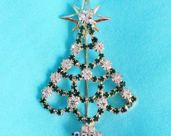 GORGEOUS Green and Clear Rhinestone CHRISTMAS TREE (Gold Star Topper) Pin