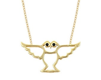 Owl 14k Solid Gold Necklace