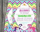 My Little Pony Rainbow Party Invitation, Thank you notes and tags