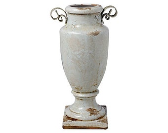 "Vintage Look 12"" Etruscan Vase w/ Handles, Cream"