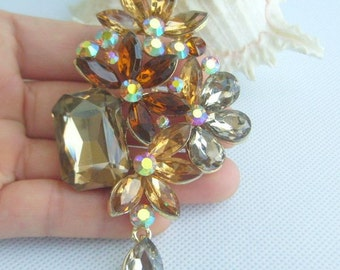 "Golden Tone Crystal Flower Brooch Pin, 3.54"" Elegant Drop Flower Brooch Pin w Topaz Rhinestone Crystals, Gift - BP06370C6"