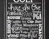 Golf Print - Golf Art - Chalk Board Golf Print - Man Cave Print - Sport Print