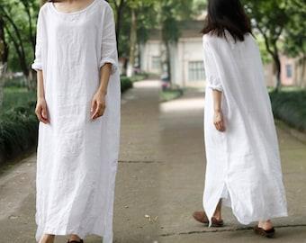 200--- Oversized Linen Dress, White Long Dress, Caftan Maxi Dress, Tunic Robe, Maternity, Plus Size Clothing.