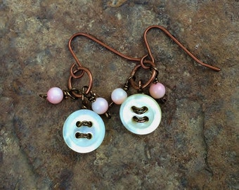 Copper Antique  Mother of Pearl Buttons with Pink Beads