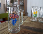 Rare Vintage Florida Gators Glass Mug made by Fisher Great Man Cave Piece for College Football Fans, from the 1980's