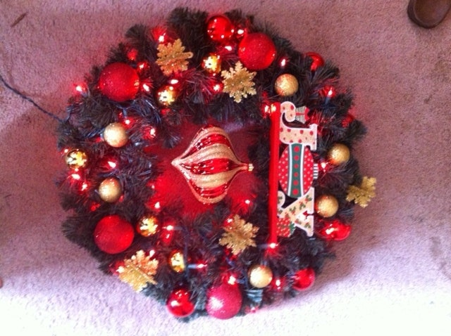 Joy handmade one of a kind holiday christmas wreath