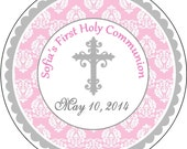 Pink Damask Silver Cross First Holy Communion, Baptism, Dedication Thank You Labels, Stickers Party Favors Gift tags