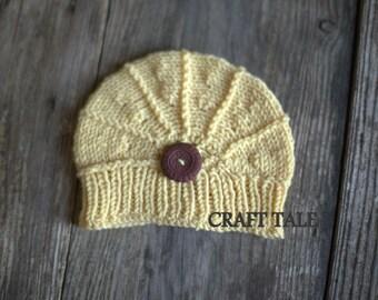 Newborn photo prop - merino cookie yellow poppy hat