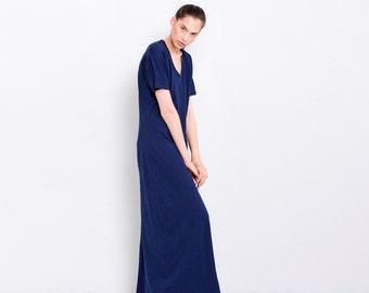 Midnight Blue Dress , Tunic Dress , Cotton Dress , Maxi Long Summer Dress