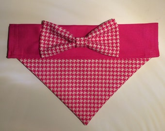 Dog Bandana - Pink Houndstooth with Bow