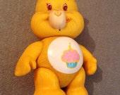 Vintage 1980's Retro Plastic Yellow Care Bear Toy Figure