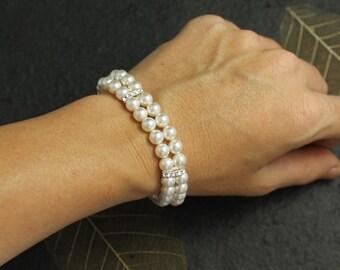 Pearl Bridal Bracelet, Wedding Cuff, Wedding Jewelry, Bridal Jewelry, Bridesmaid Bracelet