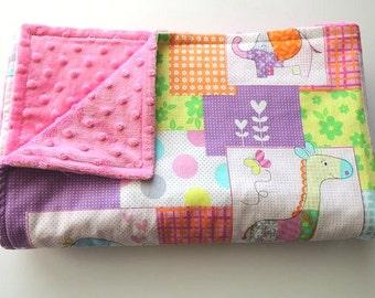 LAST ONE - OOP - Cute Zoo Minky Blanket - Made to Order - Baby Blanket - Zoo Animals - Elephants and Giraffes - Cot Bedding - Baby Bedding