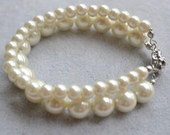 pearl bracelet,Glass Pearl bracelet, two strangs Pearl bracelet,Wedding bracelet,bridesmaid brecelet,Jewelry