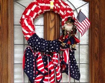 Home living decor Wreath Door wreath Wall wreath July 4 wreath July 4 decor Patriotic decor Red White Blue wreath Mark Roberts figurine