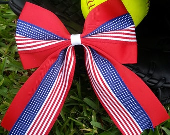 Patriotic Fourth of July softball bow