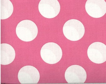 Bigger Dot Pink with White Polka Dots Cotton Fabric by the Yard