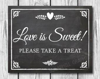 Chalkboard Wedding Sign, Printable Wedding Sign, Chalkboard Wedding Love Is Sweet Sign, Wedding Decor, Wedding Signage, Instant Download