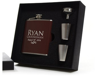Personalized Groomsmen Flask Gift Sets, Brown Flask