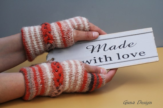 Fingerless Knitted Gloves Brown Orange White Colors with Beaded Bracelet by Gunadesign