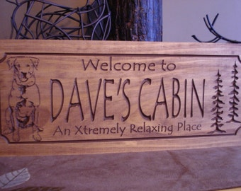 Labrador Retriever, Welcome Signs, Carved wooden sign,  Personalized wood Sign, Outdoor Sign, Cabin Sign,  Custom carved signs. Benchmark