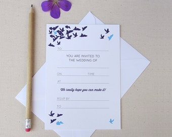 Pack of 20 'write your own' wedding invitations with flying doves