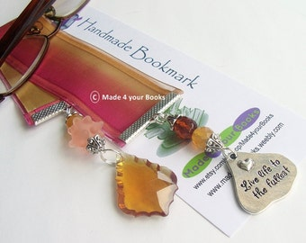 Live life to the fullest ribbon & crystal bookmark