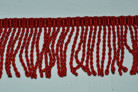 RED TWISTED FRINGE Trim 2 inches Long thin cut sold by 5 7/8 yard Lot